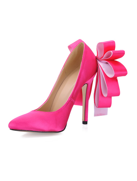 Milanoo Women Party Shoes Satin Rose Pointed Toe Bow High Heels Evening Shoes