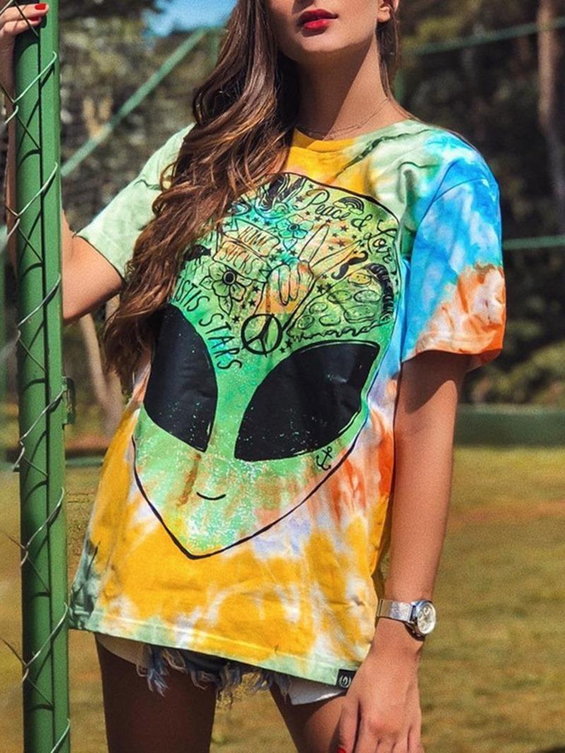 Ericdress Color Block Round Neck Short Sleeve T-Shirt