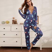 Pajama Jumpsuit mit Galaxis Muster und Knopfen vorn