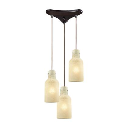 45355/3 Weatherly 3 Light Triangle Pan Pendant in Oil Rubbed Bronze with Chalky Beige