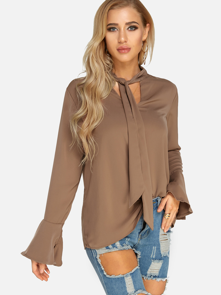 Yoins Coffee Self-tie Design Bell Sleeves Blouse