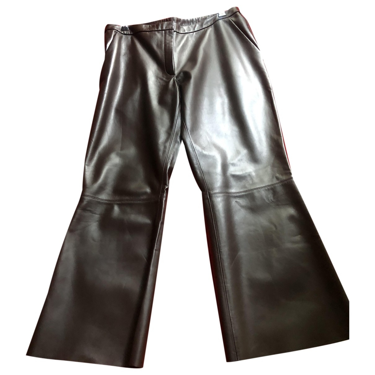 By Malene Birger \N Brown Leather Trousers for Women 40 FR