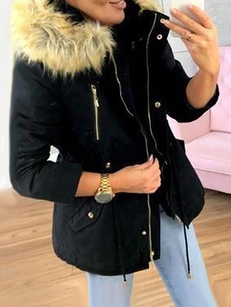 Ericdress Patchwork Zipper Mid-Length Cotton Padded Women's Jacket