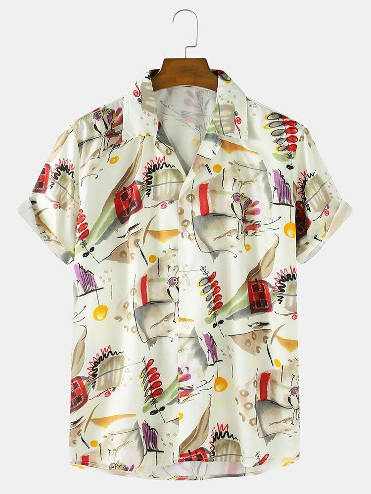 Mens Graffiti Element Print Casual Loose Thin Short Sleeve Shirts