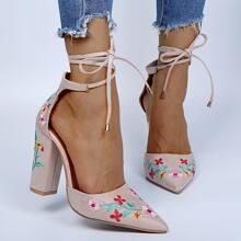 Tacones ultra altos de pierna con cordon con bordado de flor