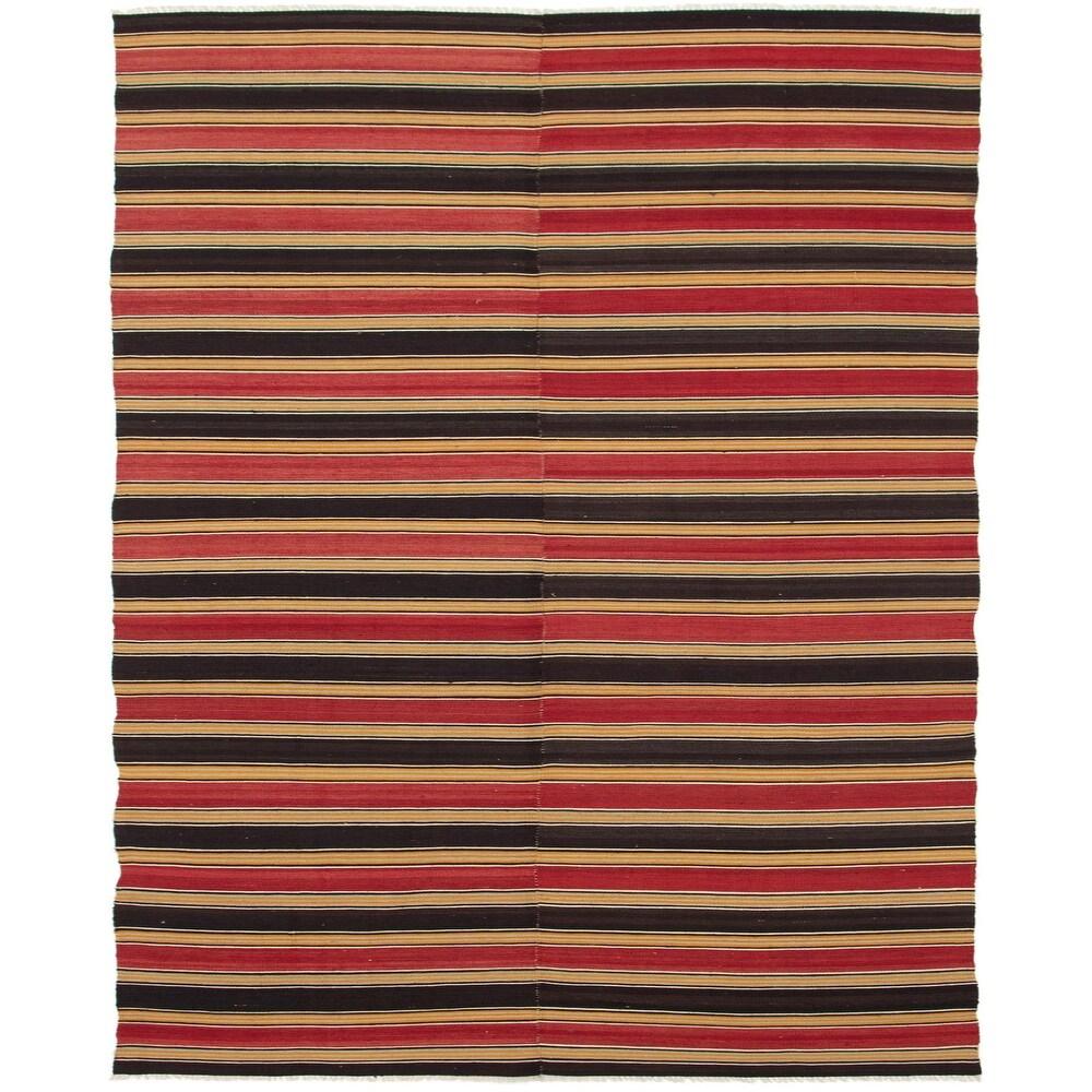 ECARPETGALLERY Flat-weave Bohemian Black, Dark Red Wool Kilim - 4'8 x 10'5 (Black/ Dark Red - 4'8 x 10'5)