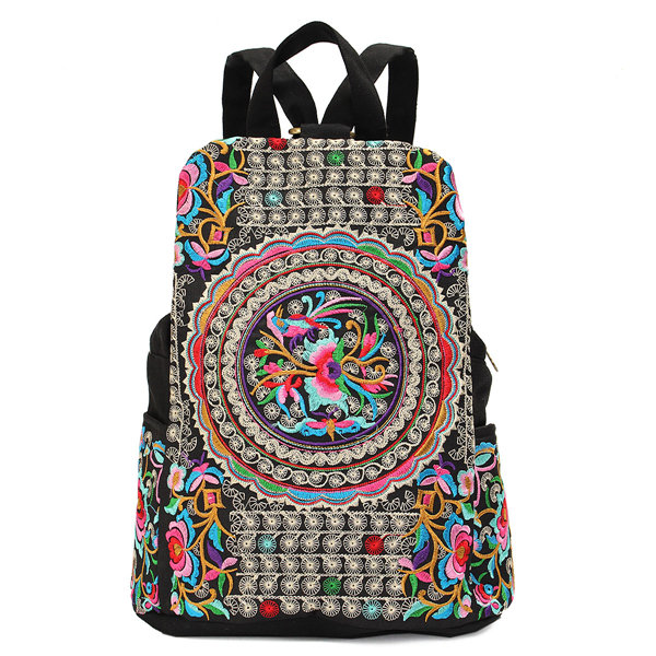 Women National Style Embroidery Zipper Creative Backpack Flower Bag Satchel