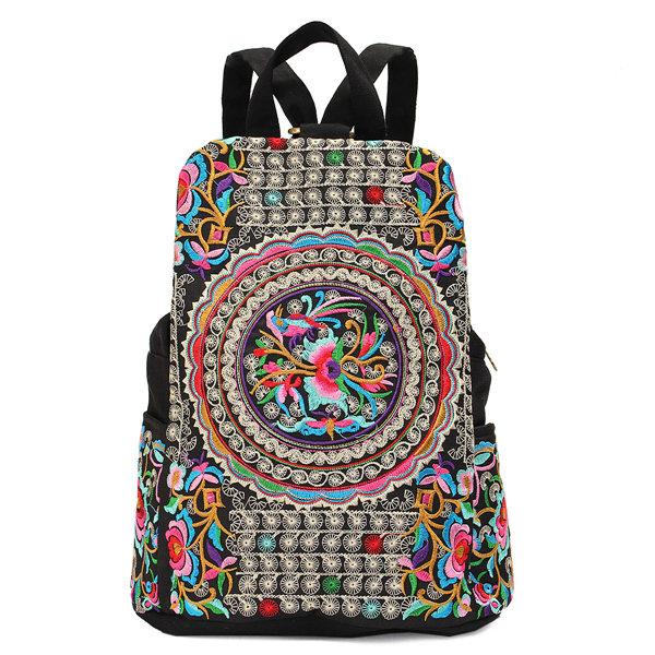 Women National Style Embroidery Zipper Creative Backpack Flower Bag Satchel