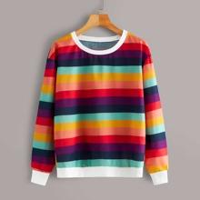 Sweatshirt mit Regenbogen Streifen