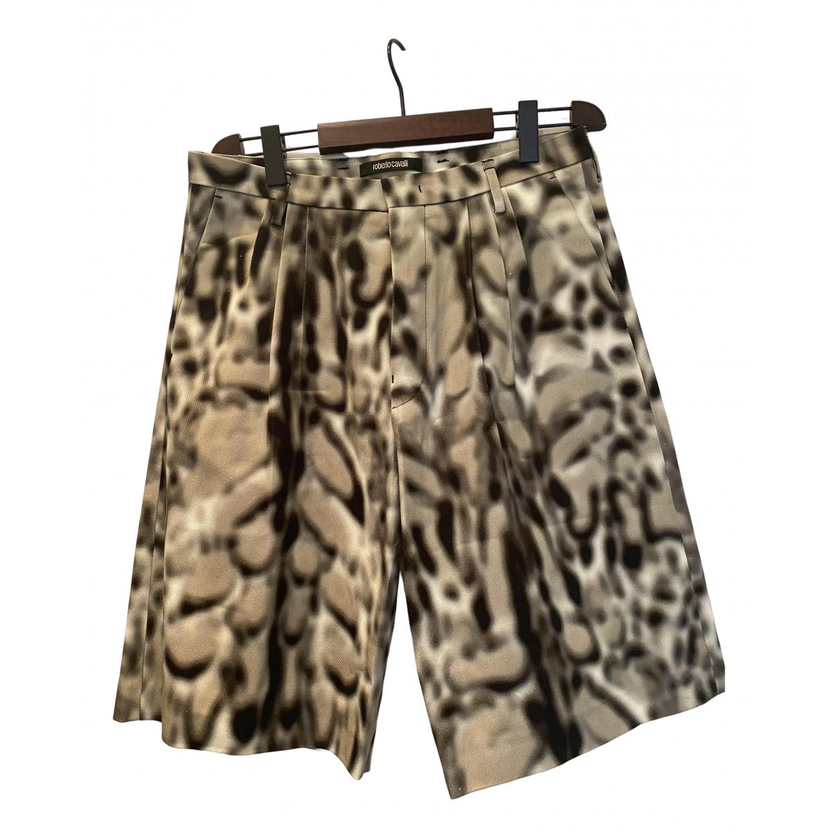 Pantalones en Algodon Beige Roberto Cavalli