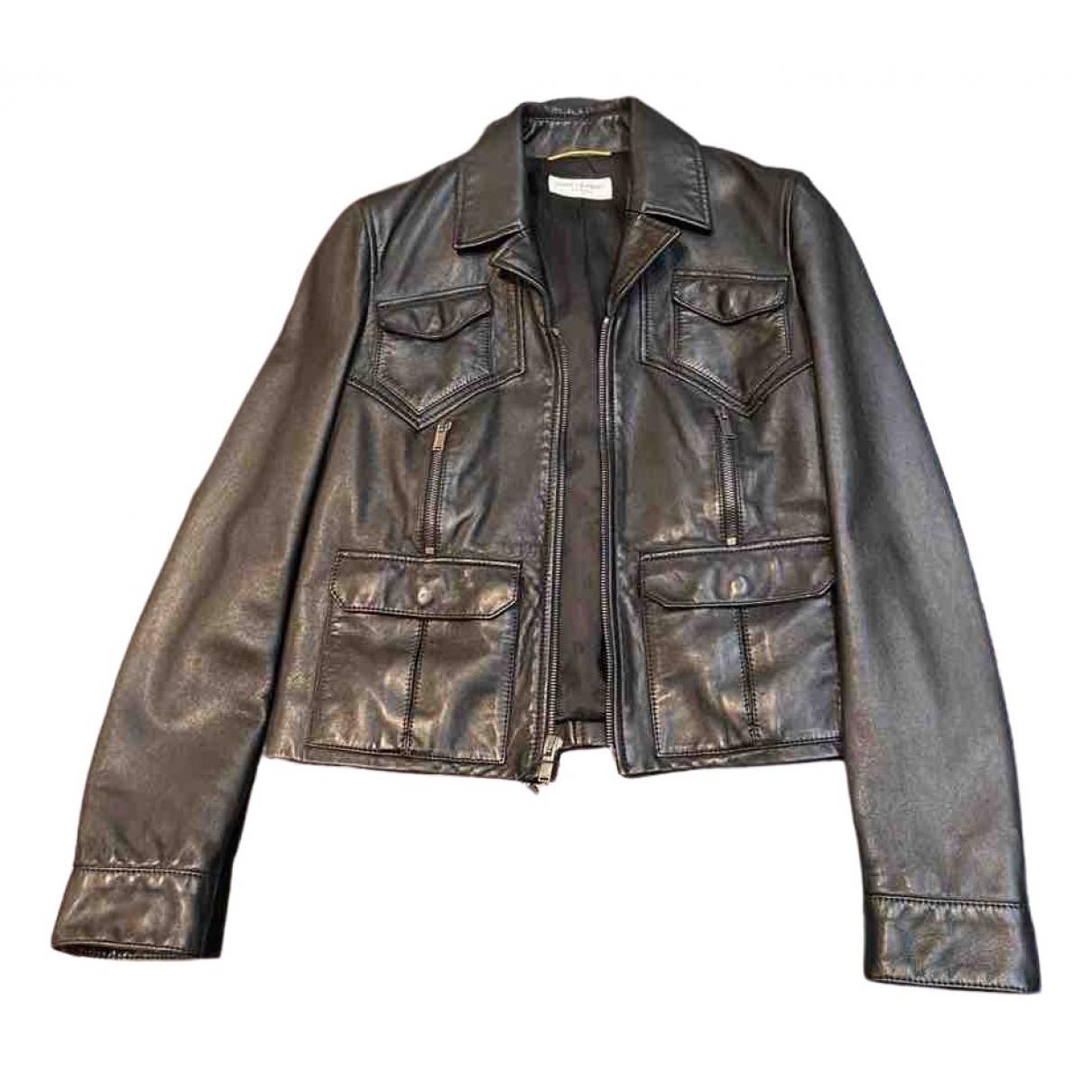 Saint Laurent \N Black Leather jacket for Women M International