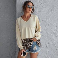 Sweatshirt mit Leopard Muster und Raglanaermeln
