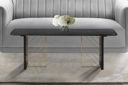 LCMOCOBL Monaco Black Wood Coffee Table with Antique Brass
