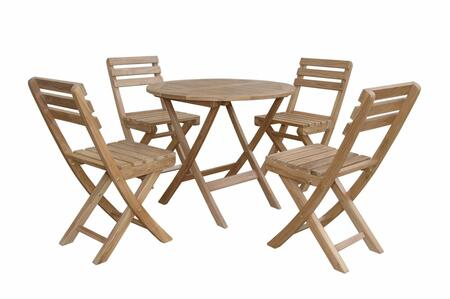 Chester Alabama SET-226 5-Piece Bistro Set with 32 Chester Round Folding Picnic Table and 4 Alabama Folding