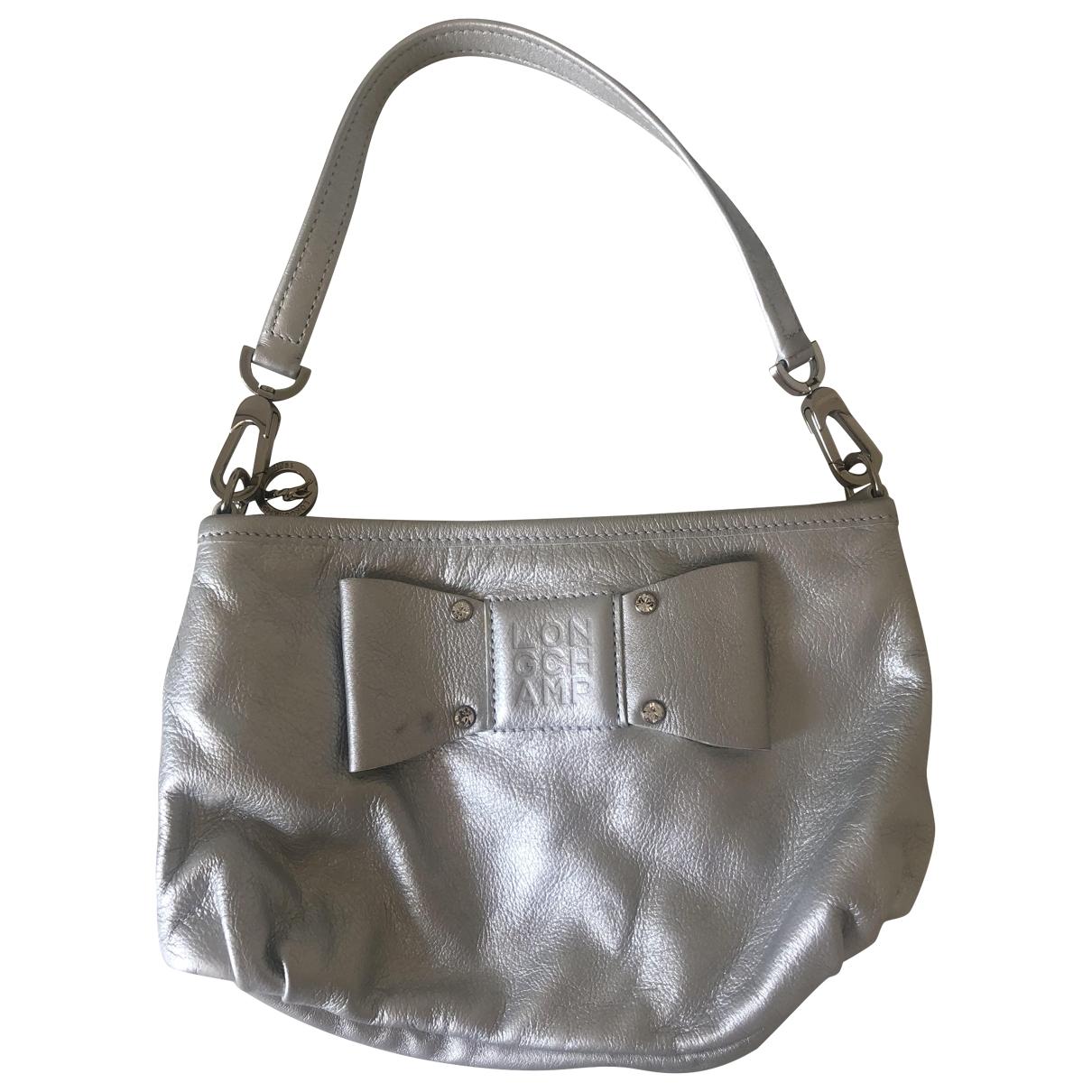 Longchamp - Sac a main   pour femme en cuir - argente