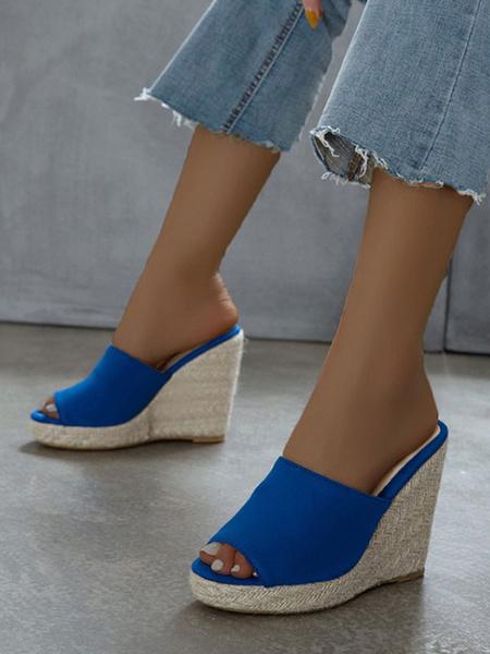 Milanoo Women\'s Wedge Sandals Chic Micro Suede Upper Wedge Slippers