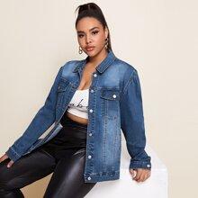 Plus Flap Pocket Front Bleach Wash Single Breasted Denim Jacket