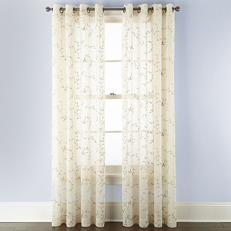 Linden Street Brooke Embroidered Sheer Grommet-Top Single Curtain Panel, One Size , Beige