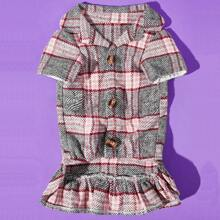 1pc Button Detail Shirt Design Dog Plaid Dress