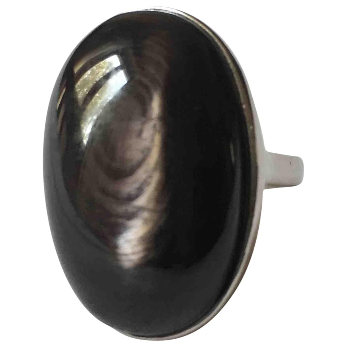 Non Signe / Unsigned \N Ring in  Schwarz Silber