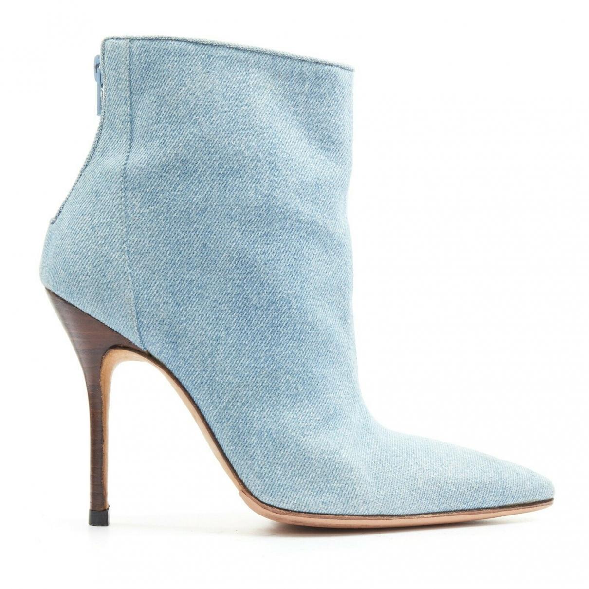 Manolo Blahnik \N Blue Suede Heels for Women 38 EU
