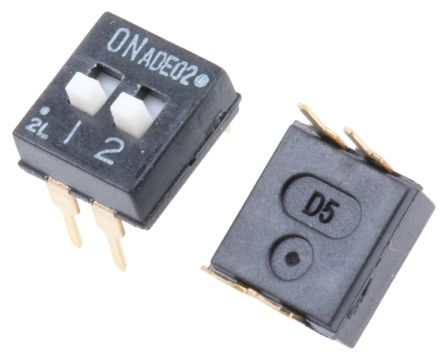 TE Connectivity 2 Way Through Hole DIP Switch SPST, Extended Slide Actuator (5)