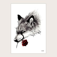 1sheet Wolf Holding Rose Pattern Tattoo Sticker
