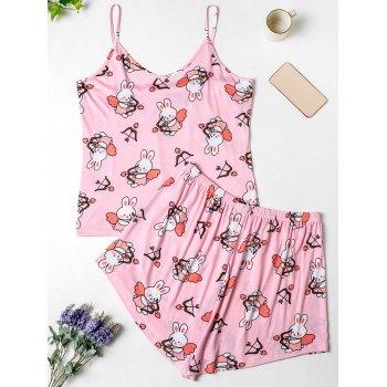 Rabbit Print Plus Size Pajama Set