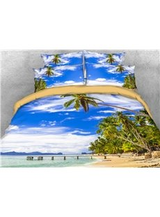 Cool Sea And Coconut Trees 3D Printed 4-Piece Polyester Bedding Sets/Duvet Covers