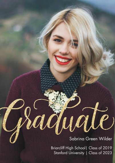 Graduation Announcements 5x7 Cards, Premium Cardstock 120lb with Elegant Corners, Card & Stationery -Graduate Glitter by Tumbalina