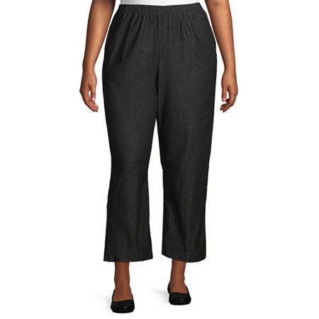 Alfred Dunner Classics Womens High Rise Straight Flat Front Pant, 18w , Black
