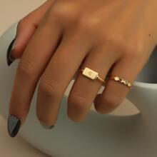2 piezas anillo grabado con letra