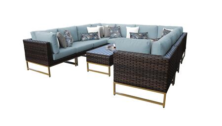 Barcelona BARCELONA-11a-GLD-SPA 11-Piece Patio Set 11a with 4 Corner Chairs  6 Armless Chairs and 1 Coffee Table - Beige and Spa Covers with Gold