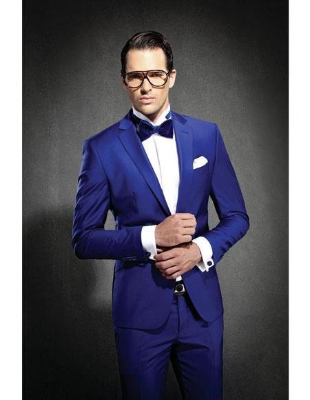 Mens Royal ~ Indigo ~ Cobalt New Blue Slim Fit Notch Lapel Suit