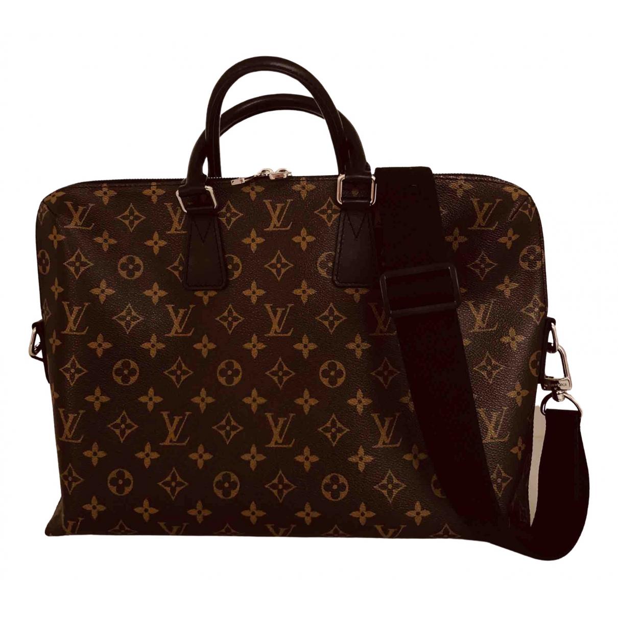 Louis Vuitton - Sac Porte Documents Jour pour homme en toile - marron