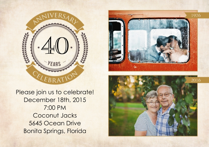 Anniversary Invitations 5x7 Cards, Premium Cardstock 120lb, Card & Stationery -Then and Now Anniversary