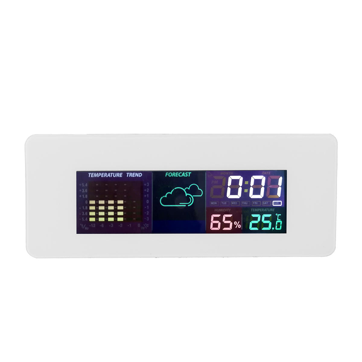 Multi-function Color Screen Temperature Humidity Meter Hygrometer Monitor Clock with Calendar Alarm Clock 12/24 Hour Sys
