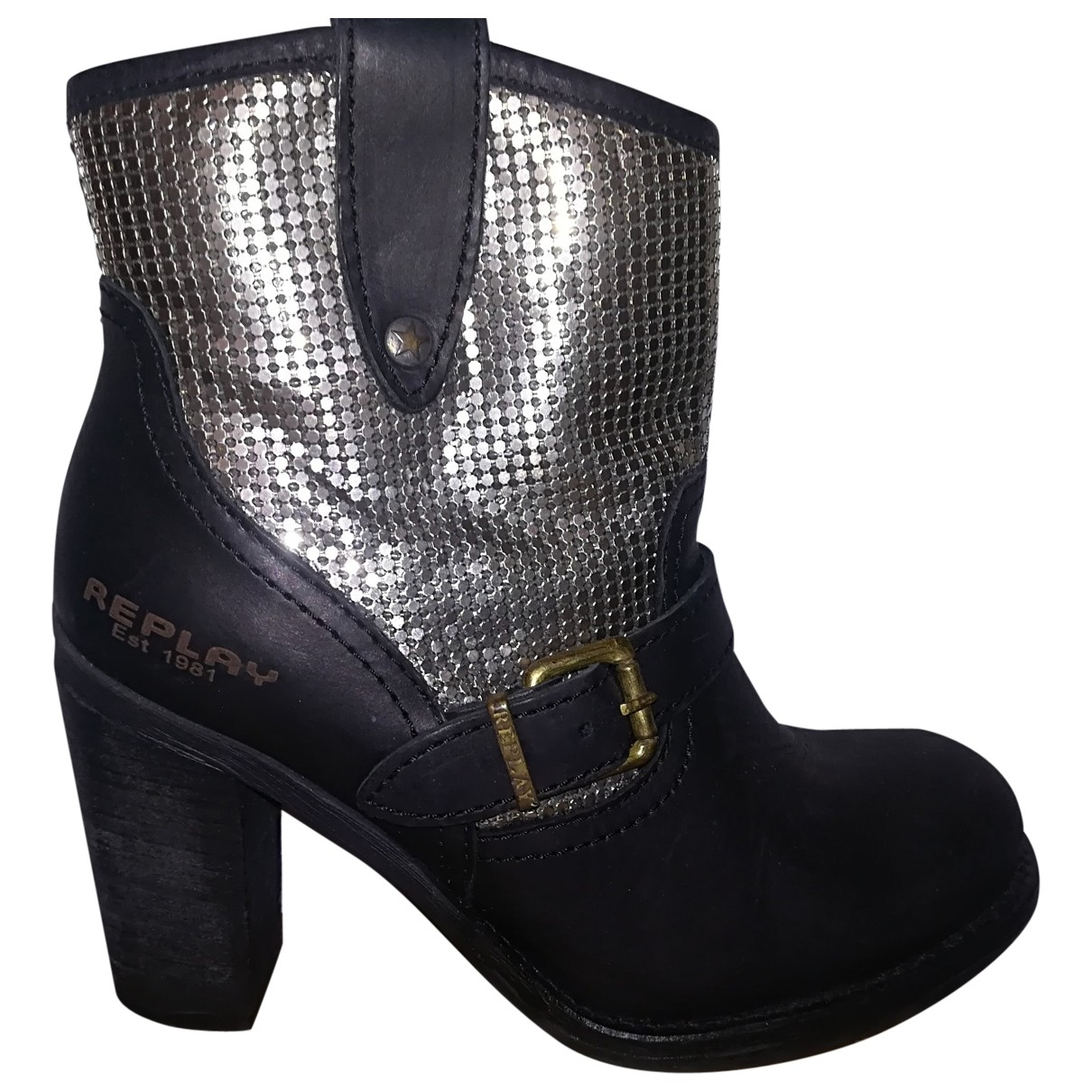 Replay \N Black Leather Boots for Women 38 EU