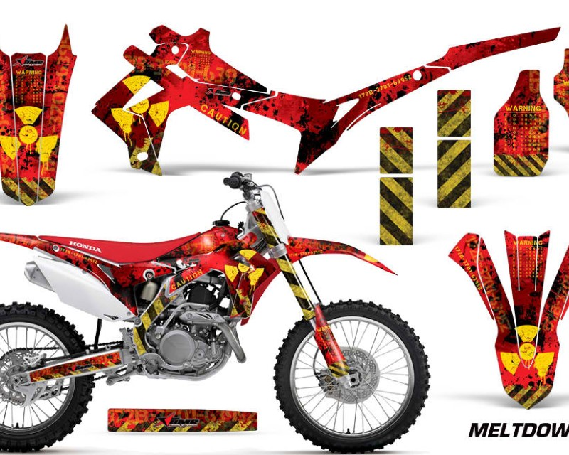 AMR Racing Dirt Bike Graphics Kit Decal Sticker Wrap For Honda CRF250R 2014-2017áMELTDOWN YELLOW RED