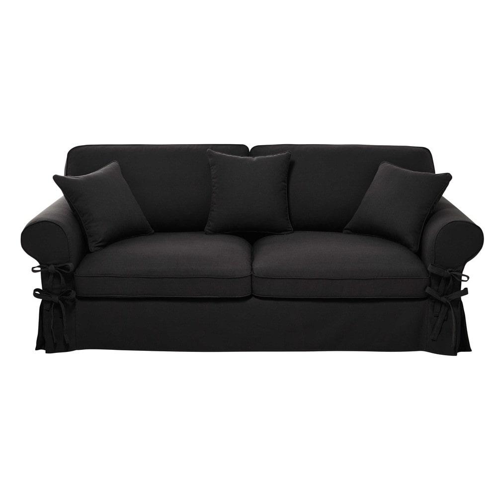 Ausziehbares 3-/4-Sitzer-Sofa aus Baumwolle, schiefergrau, Matratze 12 cm Butterfly