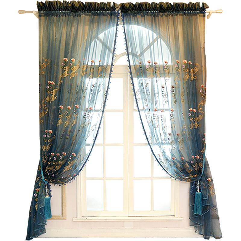 Elegant Chenille Materials with Embroidered Flowers 2 Panels Living Room Sheer Curtain
