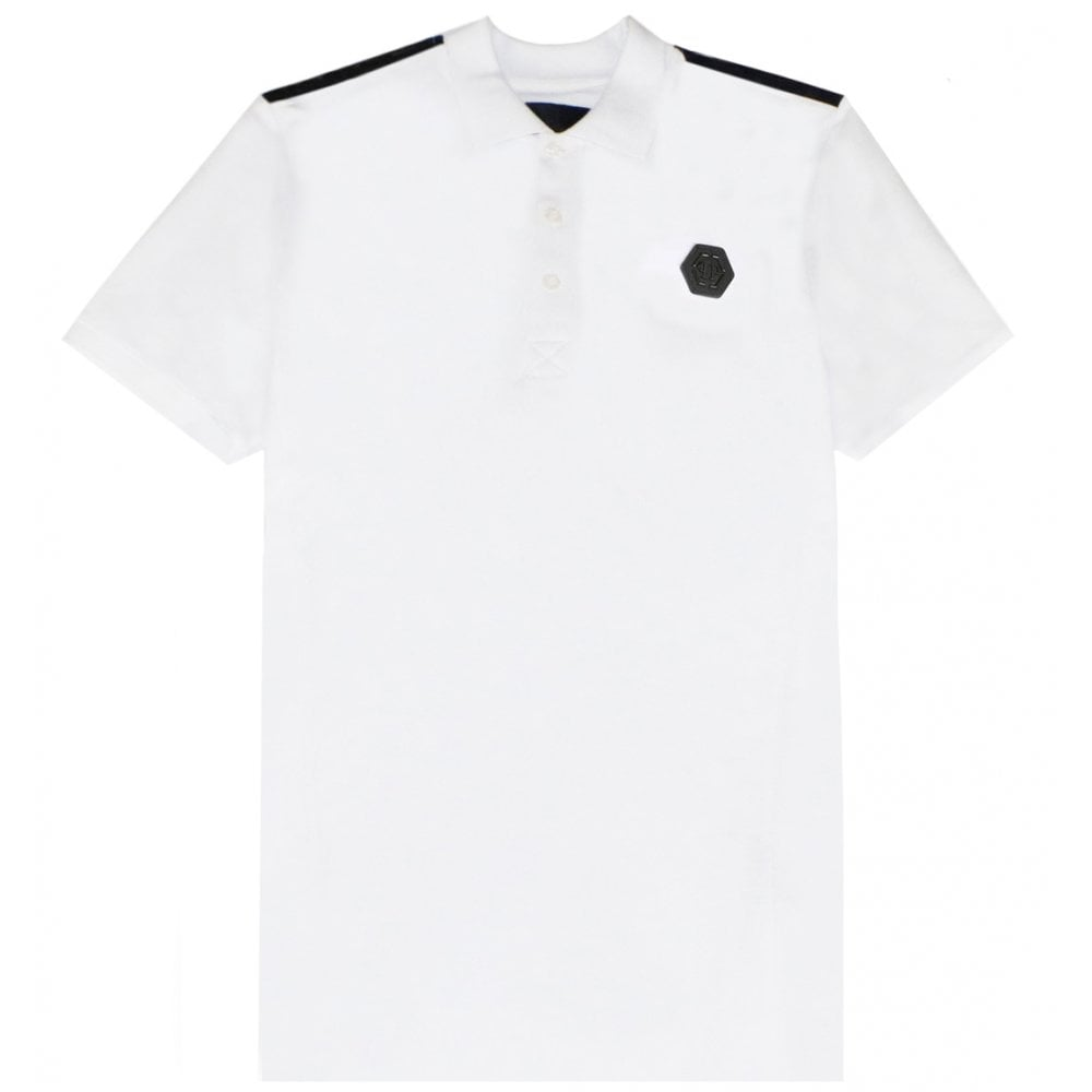 Philipp Plein Logo Polo Colour: WHITE, Size: MEDIUM