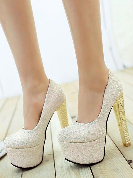 Milanoo Women Sexy High Heels Blue Round Toe Sexy Shoes