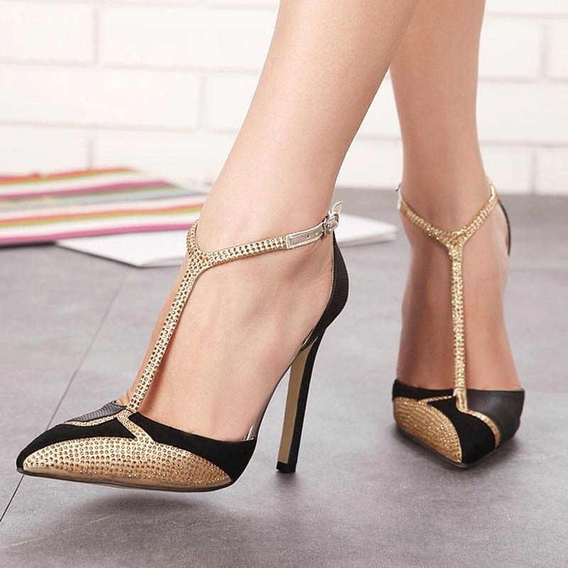 EricdressDiamond Color Block Pointed Toe Stiletto Sandals