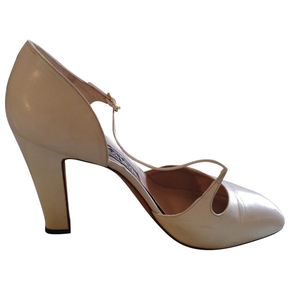 - Escarpins   pour femme en cuir - beige