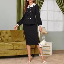 Layered Contrast Collar Lantern Sleeve Top & Pencil Skirt Set