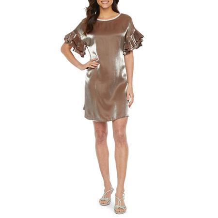 MSK Short Sleeve Embellished Shift Dress, Large , Beige