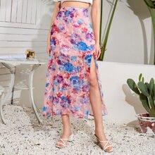 Split Thigh Floral Print Skirt