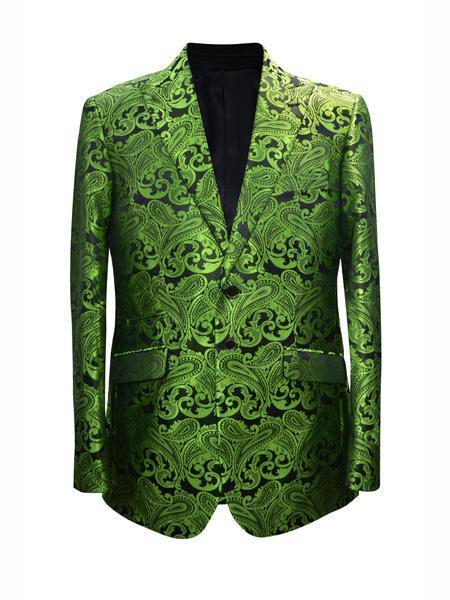 Cheap Mens Printed Flower Jacket Prom modern Tux Lime