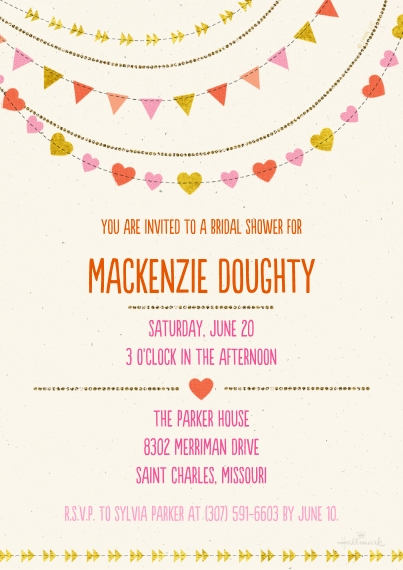 Wedding Shower Invitations Flat Matte Photo Paper Cards with Envelopes, 5x7, Card & Stationery -Hearts and Banners Shower